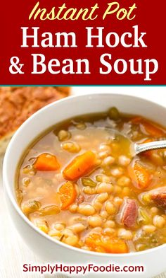 Instant Pot Ham Hock and Bean Soup is a hearty classic you can make with smoky ham hocks or a meaty ham bone. This pressure cooker ham hock and beans soup recipe has great flavor! Haamhocks and Beans Soup recipe recipes Pressure Cooker Beans, Instant Pot Pressure Cooker, Pressure Cooker Recipes, Pressure Cooking, Slow Cooker, Ham Hock Soup, Ham Hocks And Beans, Ham Hock Recipes, Bean Soup Recipes