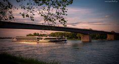Rzeka, Statek, Most, Wschód, Słońca, Gałęzie, Drzewa