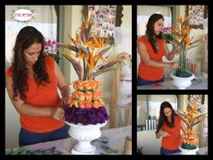 Orit Hertz - Floral Designer designing orange and purple modern flower arrangement