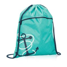 Cinch Sac in Turquoise Cross Pop w/ Anchor for $20 - So cute and sporty! Toss all your items for ballet, soccer, school and sleepovers into this bag, pull the drawstring and you're good to go! There are so many patterns and colors to choose from to make it uniquely yours! Via @thirtyonegifts