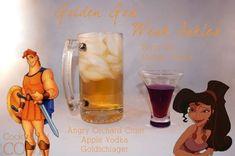 Golden God drink ( angry orchard cider, Apple vodka, Goldschlager) and weak ankles shot (berry mio and mango vodka) Disney Cocktails, Cocktail Disney, Cocktail Drinks, Fun Drinks, Yummy Drinks, Alcoholic Drinks, Mixed Drinks, Cocktail Recipes, Party Drinks