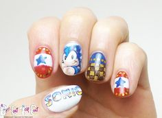 Sonic nails OMG I LOVE LOVE LOVE LOVE SONIC THE HEDGEHOG!!!!!!! FAVORITE VIDEO GAME!!! UGH I FEEL THE NEED TO COLLECT GOLD RINGS!!