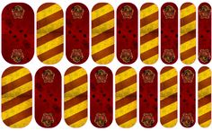 Gryffindor nail wraps. Able to be ordered at dmays.jamberrynails.net or through my Facebook page: DeAnna Mays - Jamberry Independent Consultant
