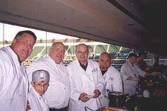 "Chef Jim at ""Real Men Can Cook."" a fundraiser for battered women! Chef Jim is seen with Bob Wadden, Jason Cox, Jack Cox, and Bob Cox."