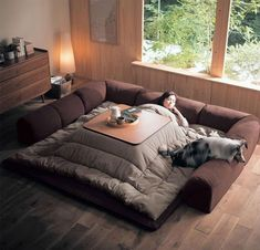 Kotatsu, A Traditional Japanese Floor Sofa Made Modern With Convertible Options. Kotatsu, A Traditional Japanese Floor Sofa Made Modern With Convertible Options. Japanese Living Rooms, Japanese Home Decor, Asian Home Decor, Japanese Interior, Japanese Bed, Japanese Style, Diy Japanese Furniture, Japanese Decoration, Japanese Home Design