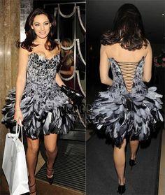Kelly Brook attends Dior private dinner in a Suzie Turner feather dress www.facebook.com/CouturierSuzieTurner