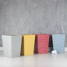 These practical and stylish waste paper bins will brighten up any study or home office area in these eye catching colours: Red, Blue, Grey and Mustard. All our beautiful handmade stationery and storage products are produced in an eco-friendly way, from 100% recycled materials.