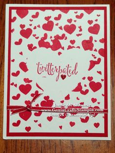 #Twitterpated #Masking #Framelits #Ribbon #Hearts #FashionFriday #Glitter #Valentine #PolkaDots #PaperCrafting #CardMaking #GettinCraftyStampin #StampinUp #RubberStamping #HandStamped #Tutorial #Fashion