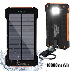 Solar Charger Hiluckey 10000mAh Dual USB Solar Panel Portable Battery Charger Solar Power Bank with LED Flashlight for iPhone Android Smart Phone and Tablets (Waterproof & Dust-proof & Shock-resistant)