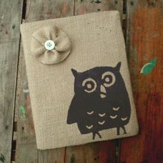 Owl   Burlap Feed Sack Journal Cover w by nextdoortoheaven on Etsy, $12.00