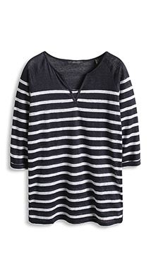 Esprit / Halftransparant gestreept linnen shirt
