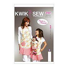 Buy Kwik Sew Women's, Girls' and Dolls' Matching Aprons Sewing Patterns, 3787 Online at johnlewis.com