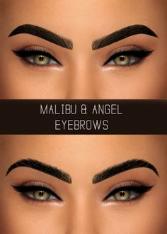 """simpliciaty-cc: """" MALIBU & ANGEL EYEBROWS Malibu are full thick brows & Angel are thin very arched brows, seen on the pic respectively! • 20 swatches (4 natural shades of black, grey, brown, ginger and blonde); • All ages & genders; • HQ mod..."""