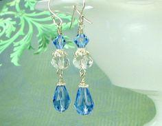 SALEBlue crystal earrings Swarovski crystals by earringsbylulu, $15.00