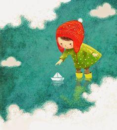 girl, sea, paper boat, sky, Alena Tkach