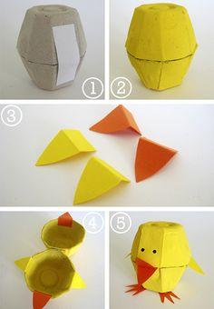 Reciclaje y desecho: cartón de huevos