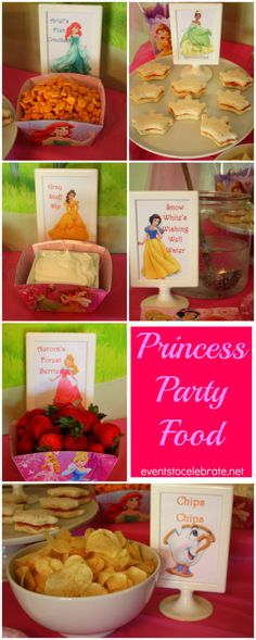 Princess Birthday Party (Food and Decorations! - Princess Birthday Party (Food and Decorations!) Disney Princess Birthday Party Ideas: Food & Decorations - events to CELEBRATE! Disney Princess Birthday Party, Tea Party Birthday, 4th Birthday Parties, Birthday Ideas, Princess Themed Food, Girl Birthday, Princess Tea Party Food, Fourth Birthday, Birthday Celebration