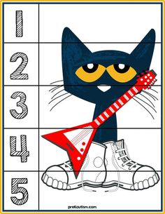 Free printable materials for working on basic number sense skills. Target numbers with this simple and effective activity. Preschool Books, Free Preschool, Preschool Printables, Preschool Classroom, In Kindergarten, Book Activities, Preschool Activities, Pete The Cats, Pete The Cat Games