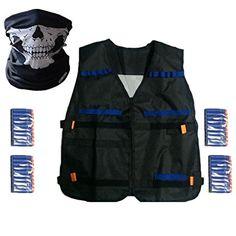 Yalulu Elite Tactical Vest Jacket + 40 Refill Soft Darts Bullets + Seamless Skull Face Mask for Nerf Gun N-Strike Elite Series Pistol Foam Bullets Toy Guns