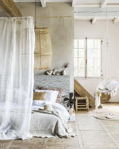 Bedroom in Ibiza style with sand and lime shades and materials such as raffia, light wood, palm leaf and rope   Styling Moniek Visser   Photographer Sjoerd Eickmans   vtwonen July 2015