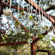 Real Weddings - A Modern Ranch Wedding in Austin, TX - Hanging Glass and Floral Decor
