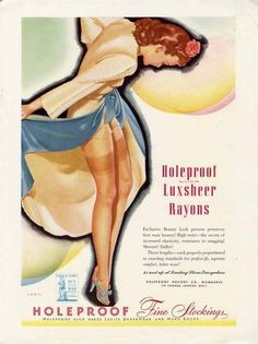 HOLEPROOF STOCKINGS AD - 1945 - Sexy Pin Up Style Woman Hosiery #HoleproofStockings