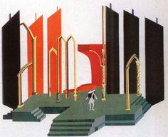 Aleksandra Ester.  Don Juan and Death. Sheet from album Theatre set. 1930