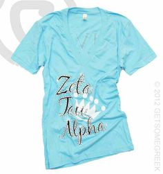 Zeta Tau Alpha Light Blue V Neck