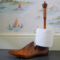 These unusual toilet roll holders have been made from genuine vintage cobblers shoe lasts and make unique and quirky bathroom accessories