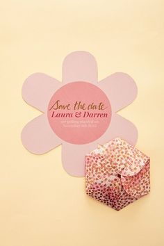 Origami flower Save the Date