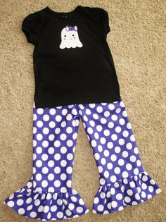 Got this shirt for Lacey this year. LOVE IT!!! Halloween Ghost shirt and Ruffle Pants by Casanees on Etsy, $38.00