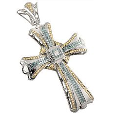 This 14K gold diamond cross pendant with blue and yellow diamonds weighs approximately 30 grams and features 7.75 ctw of sparkling invisibly and prong set diamonds, each expertly set in a highly polished gold frame. This breathtaking designer diamond cross pendant can be customized with red, blue, green, black, white and canary yellow diamonds, and is available in 14K white, yellow and rose gold.
