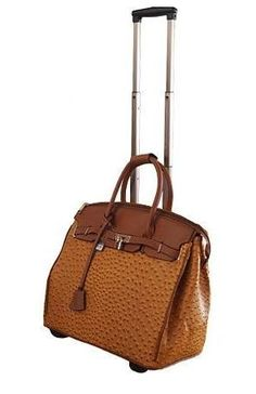 Faux Ostrich Print Rolling Laptop Briefcase Wheeled Travel Business Bag Camel Ebay