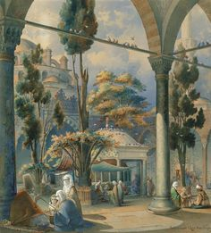 "[Ottoman Empire] The Courtyard of the Bayezid Mosque, Istanbul, 1843, ""Amadeo Preziosi"" (Bayezid Camii Avlusu, 1843)"