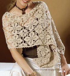 Crochet Chales: ganchillo de las mujeres del mantón del abrigo - Free-Patrón - para la primavera y el otoño