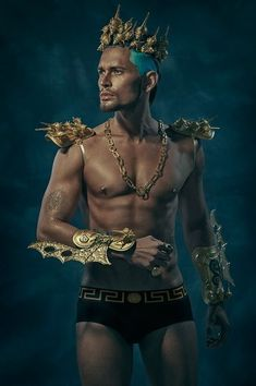 Poseidon - the god of the sea, earthquakes and horses. Although he was officially one of the supreme gods of Mount Olympus, he spent most of his time in his watery domain. Poseidon was brother to Zeus and Hades. Versace, Beauty Editorial, Editorial Fashion, Fashion Editor, Merman Costume, Fashion Art, Mens Fashion, Hommes Sexy, Fantasy Costumes