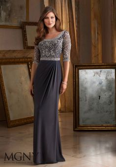 Shop Morilee's Beading on Stretch Mesh Evening Dress. Beading on Stretch Mesh Evening Gown/Mother of the Bride Dress. Evening Gowns and Mother of the Bride Dresses by Morilee. Mob Dresses, Dressy Dresses, Elegant Dresses, Lace Dresses, Dress Outfits, Lounge Dresses, Bohemian Dresses, Dresses 2014, Summer Dresses