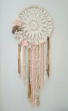 Best Embroidery Hoop Necklace Dream Catchers Ideas,Best Embroidery Hoop Necklace Dream Catchers Ideas What's embroidery ? Generally, embroidery is a unique manner of textile processing, in which pr. Dream Catcher Decor, Doily Dream Catchers, Dream Catcher Boho, Dreamcatcher Crochet, Crochet Mandala, Doilies Crafts, Yarn Crafts, Embroidery Hoop Crafts, Etsy Embroidery