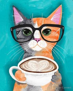 Coffee Cat Autumn Cat Folk Art LARGE Giclee by KilkennyCatArt Available in four sizes! Art prints featuring my original cat folk art! Choose from sizes 18 x 24 up to 24 x 36. Open edition prints, not signed. Printed on Somerset Enhanced Velvet. It is an acid-free, 100% cotton, single-side coated paper showing a natural white finish with a slightly textured matte surface has a soft velvet-like feel. Printed using Canon Printers using the Canon Lucia inks. Paper weight: 255 g/m².