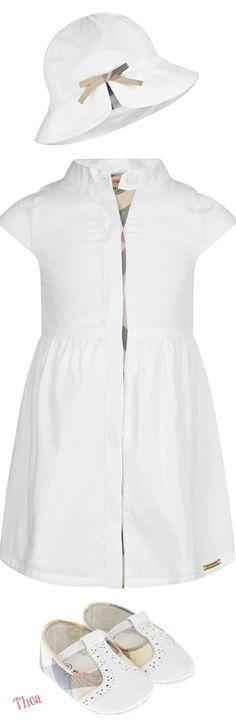 Burberry ● Baby Girls White Cotton Sleeveless Dress