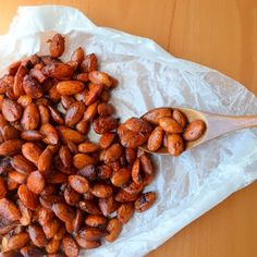 Happily Spiced: Sriracha Honey Almonds (use maple syrup option, or use Bee Free Honee or agave)