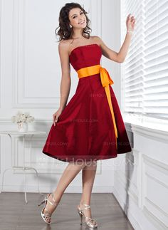 A-Line/Princess Strapless Knee-Length Sash Bow(s) Zipper Up Strapless Sleeveless No Dark Navy Spring Summer General Plus Taffeta Bridesmaid Dress