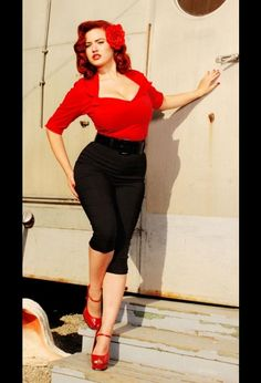 The Doris Top in red from Pinup Couture at the Pinup Girl Clothing website (great website if you like retro style clothing!) http://www.pinupgirlclothing.com/doris-mayday-top-red.html