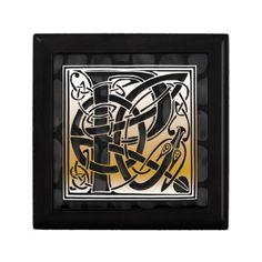P Monogram Celtic Black Stone Decorative Box