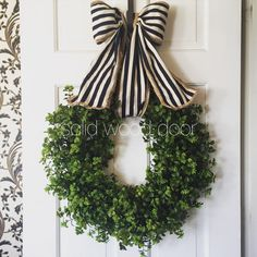 Spring Faux Boxwood Wreath Nautical Boxwood by SolidWoodDoor