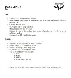 Do's & Dont's during weight loss