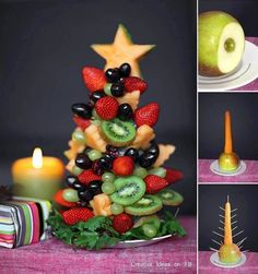 Tutorial to make edible fruit Christmas tree! - a healthy Christmas breakfast option? Fruit Christmas Tree, Christmas Tree Crafts, Noel Christmas, Christmas Goodies, Christmas Baking, Simple Christmas, Christmas Decorations, Christmas Buffet, Christmas Snacks