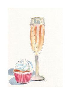 Champagne and Cupcake Watercolor Art Print 5x7 by jojolarue