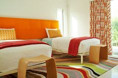 Orange Headboard....painted on wall for boys beds