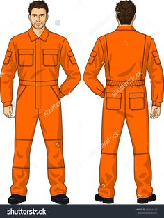 Overalls Orange For The Man With Pockets Royalty Free Cliparts, Vectors, And Stock Illustration. Jumpsuit Pattern, Pants Pattern, Mens Coveralls, Work Overalls, Mens Windbreaker, Uniform Design, Fashion Design Drawings, Clothing Patterns, Work Wear